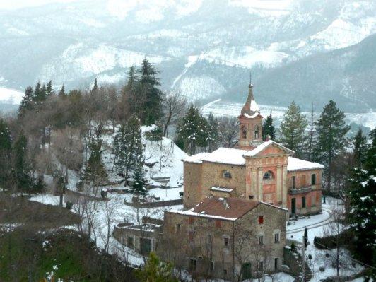 Veduta invernale Chiesa di Gaggio ottocentesca